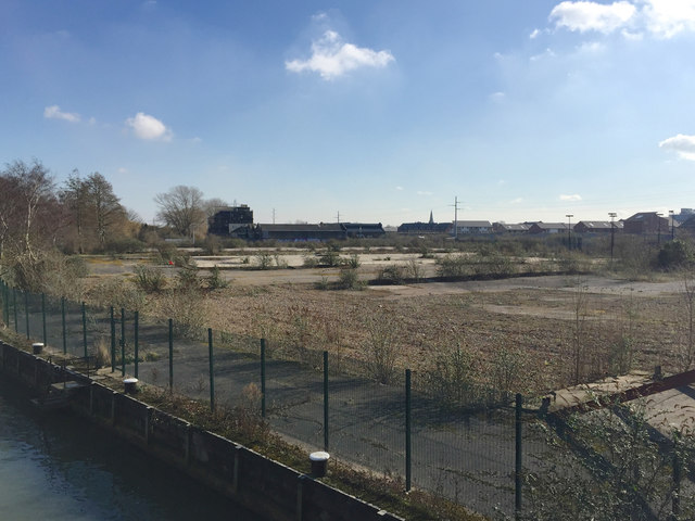 Cleared land on the south bank of the River Nene, Peterborough