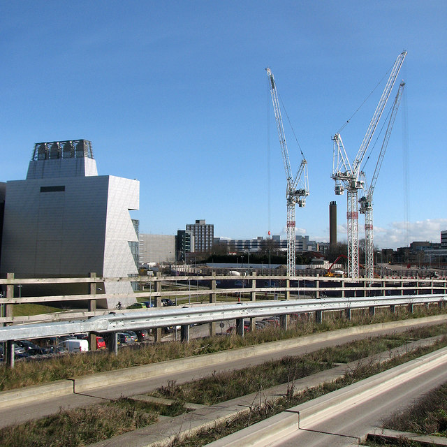 Busway bridge, Molecular Biology Laboratory and cranes