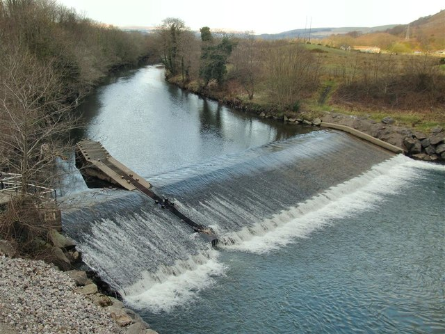 Weir on Tawe near Godre'r Graig