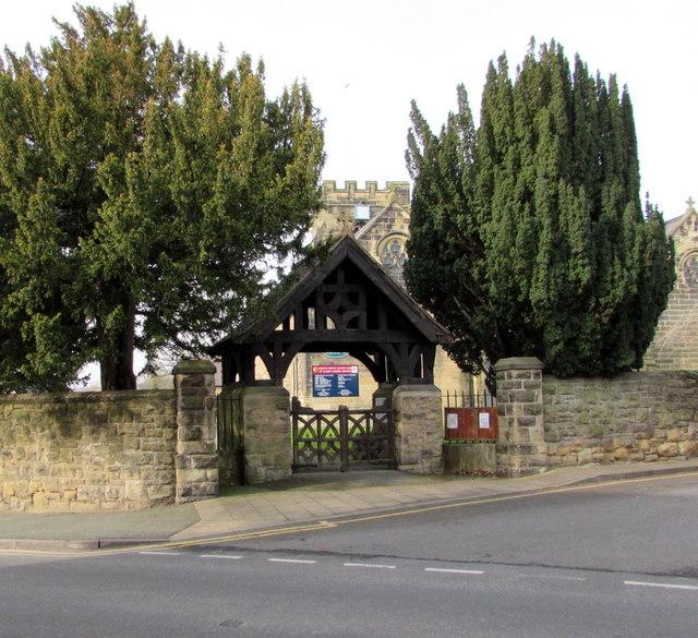Lychgate and trees at the entrance to St Mary's Church, Ruabon