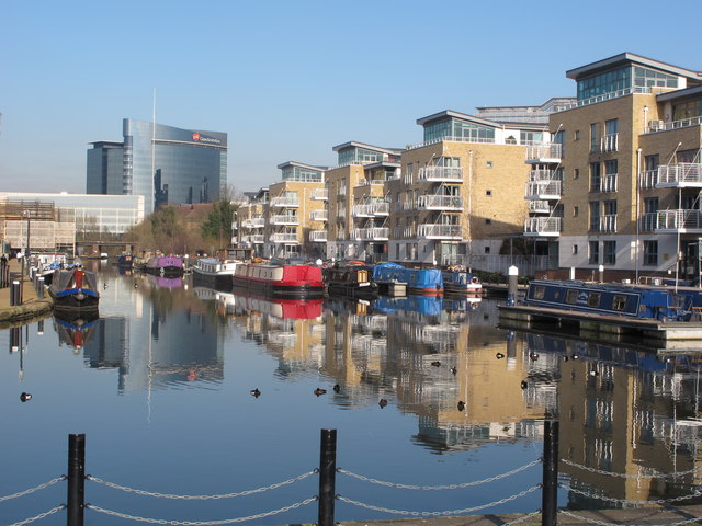 The Island, Brentford, with canal and boats