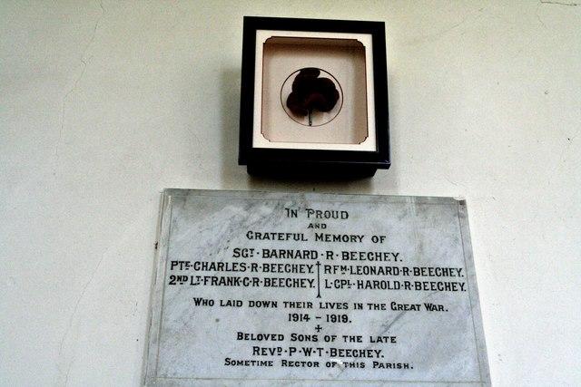 Beechey Brothers' memorial in Friesthorpe Church