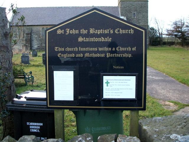Sign for St. John the Baptist's Church, Staintondale