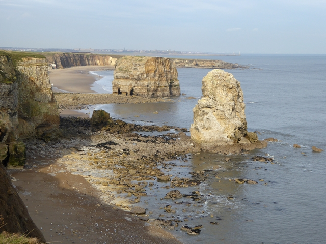 Cliffs, sea stacks and beach at Marsden