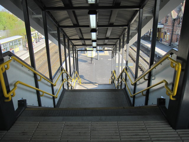 Steps down to platforms 1 & 2 at Hooton railway station