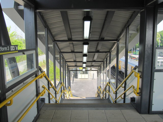 Steps down to platform 3 at Hooton railway station