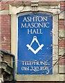 SJ9398 : Sign of Ashton Masonic Hall by Gerald England