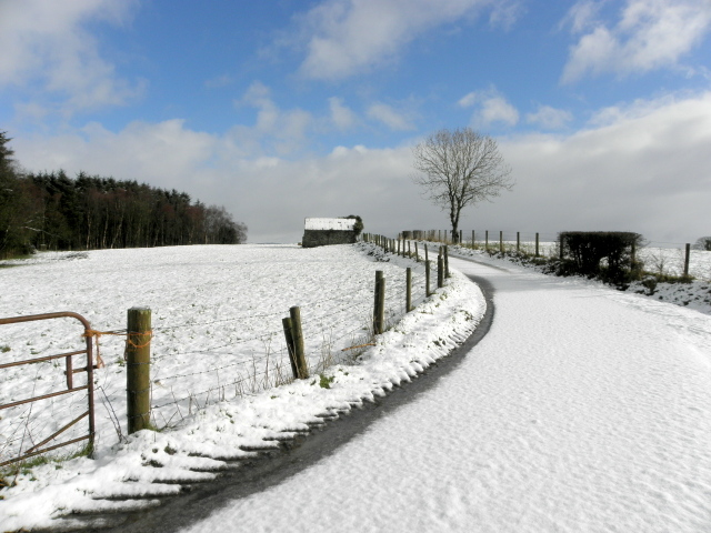 Snow on a country lane, Beragh