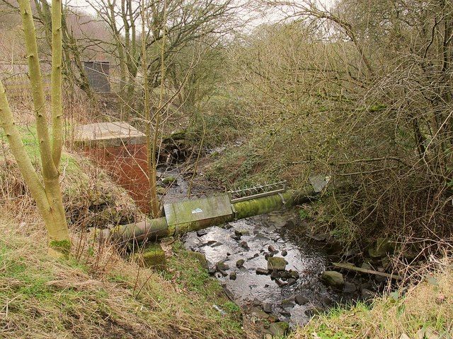 Sewer pipe crossing the Tyersal Beck