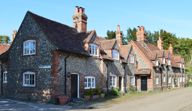 Brick and flint cottages, Hambleden, Buckinghamshire