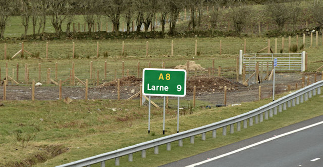 Route confirmatory sign, Ballynure bypass (March 2016)