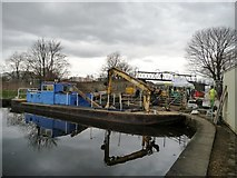 SE3419 : Work boat blocking the drained Fall Ing lock by Christine Johnstone