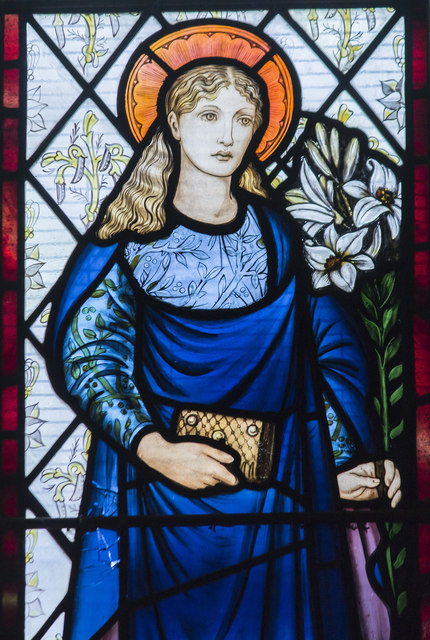 Detail of Stained glass window, All Saints' church, Coddington