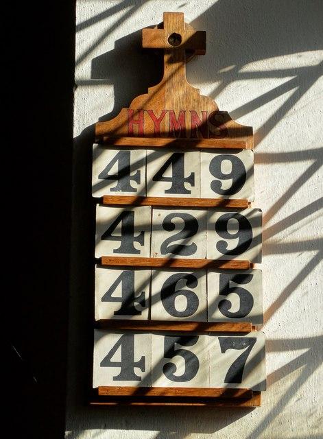 Hymn board, St Edmund's Church, Fenny Bentley