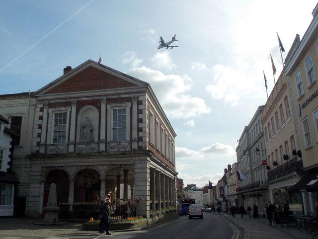 Windsor: aeroplane over the Guildhall