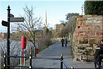 SO8454 : Medieval monastic walls alongside the River Severn by Alan Murray-Rust
