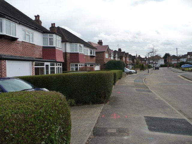 Houses on the east side of Malpas Drive