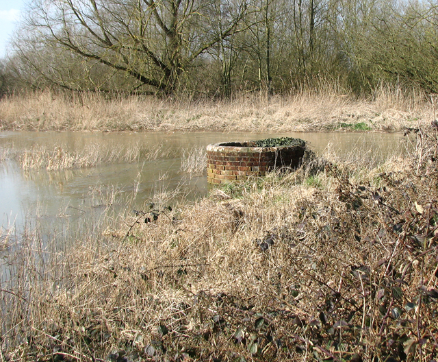 Brick-built tank in the floodwater