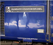 SS6593 : Isambard Kingdom Brunel nameplate on a train in Swansea station  by Jaggery