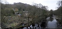 SD9926 : Flood damaged allotments next to the River Calder in Hebden Bridge by Steve Whalley