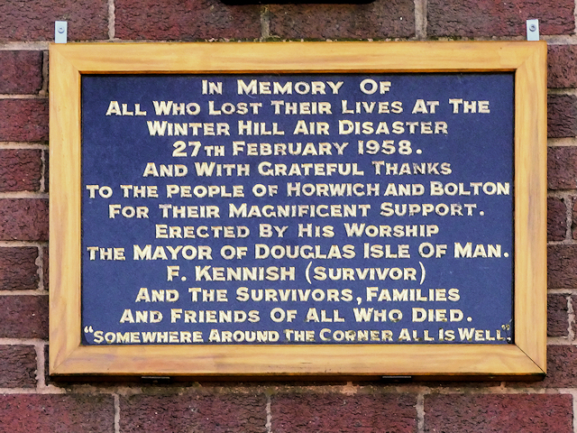 Winter Hill Air Disaster Plaque
