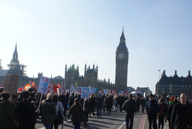 View of the social housing protest march on Westminster Bridge Road #12