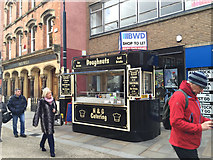 SO8554 : Doughnut stall in front of a shop to let, High Street, Worcester by Robin Stott
