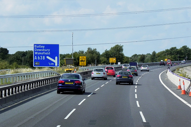 Northbound M1 near Ossett