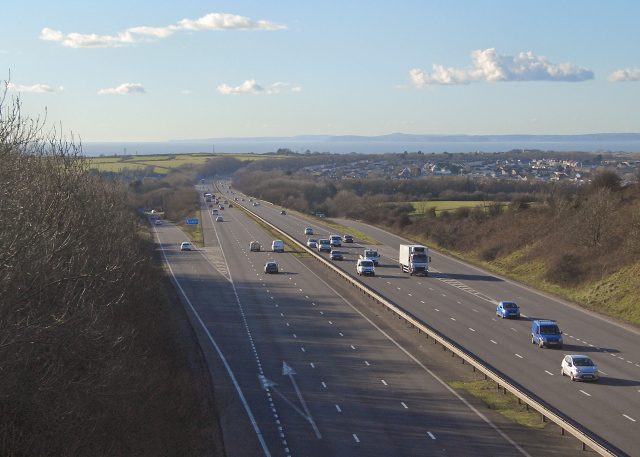 The M4 at junction 37, North Cornelly