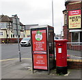 ST3087 : King George V pillarbox and a BT phonebox, Handpost, Newport by Jaggery