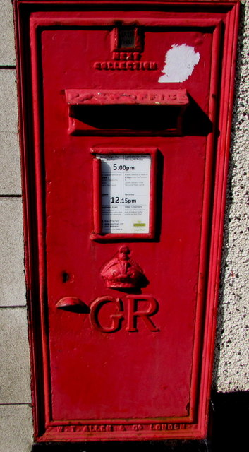 King George V postbox in the wall of Ann Street Post Office, Llanelli