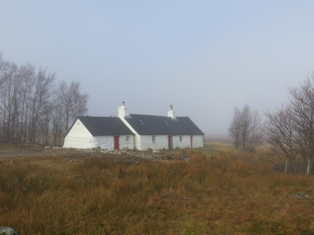 Blackrock Cottage Rannoch Moor in the mist