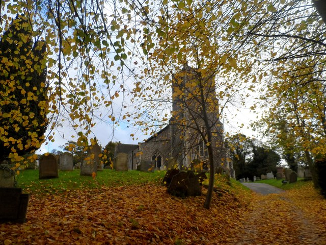St John the Baptist Church with autumn leaves, Saxmundham