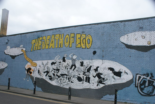 """View of """"The Death of Ego"""" wall art on Hanbury Street"""