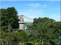 SH5571 : A glimpse of the Menai Suspension Bridge by Eirian Evans