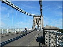 SH5571 : The A5 crossing the Menai Suspension Bridge by Eirian Evans
