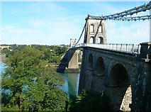 SH5571 : View of the western side of the Menai Suspension Bridge by Eirian Evans