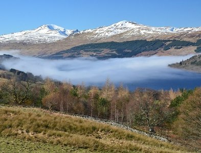 NN7743 : Mist clearing from Loch Tay by Jim Barton