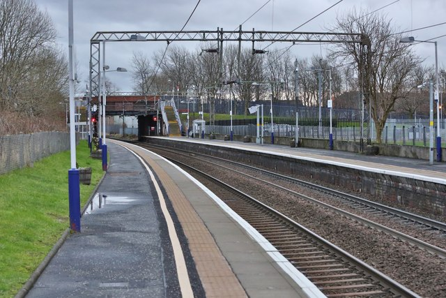 An easterly view along the platform of Yoker railway station in Glasgow
