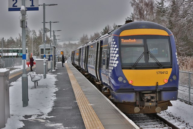 A Class 170 diesel train at Tweedbank railway station on the Scottish Borders Railway