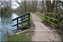 SP5007 : Footpath over overflow beside the Thames at Fiddler's Island by Roger Templeman