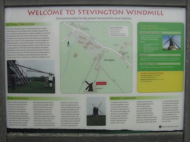 Information board for StevingtonWind mill