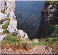 SH6963 : Into the abyss - view through a  gap at the top of Craig yr Ysfa by Eric Jones