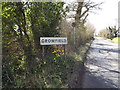 TM1658 : Crowfield Village Name sign on Ipswich Road by Adrian Cable