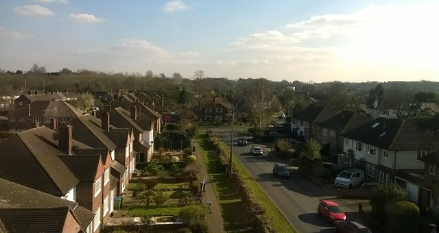 Angel Road, Thames Ditton, from the railway