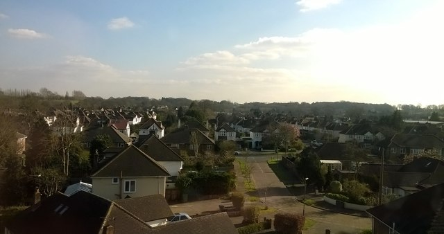 Manordene Close, Thames Ditton, from the railway