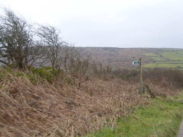 Sign for footpath at Zennor to Churchtown Common