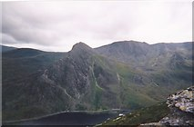SH6659 : Llyn Ogwen and Tryfan from the slopes of Pen yr Ole Wen by Eric Jones