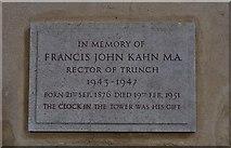 TG2834 : Trunch: St. Botolph's Church: Francis Kahn memorial plaque by Michael Garlick