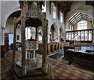 TG2834 : Trunch: St. Botolph's Church: The font (ca. 1350) and nave (rebuilt ca. 1380) by Michael Garlick